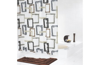 GRUND Duschvorhang MODELLO weiss-braun-grau
