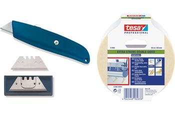 ilima Bodenverlegeset - Cuttermesser/ Teppichmesser + Trapezklingen Hakenklingen + 25m Tesa Verlegeband doppelseitiges PVC + Teppich-Klebeband
