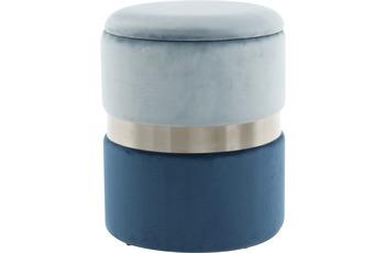 Kayoom Hocker Zora 125 2-er Set Hellblau /  Silber /  Blau