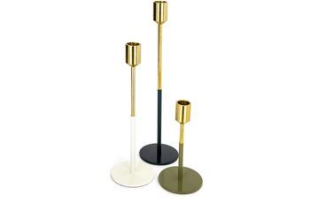 Kayoom Kerzenhalter 3er Set Saga 170 Gold /  Weiß /  Grün /  Grau