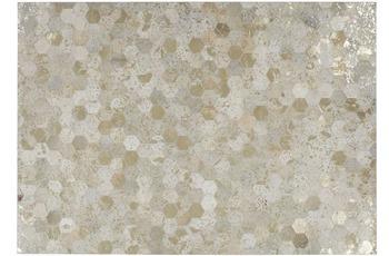Kayoom Lederteppich Spark 210 Elfenbein /  Gold