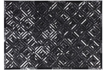 Kayoom Lederteppich Spark 410 Schwarz /  Silber