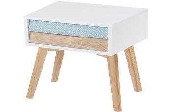 Kayoom Nachttisch Hailey Weiß /  Blau /  Holz