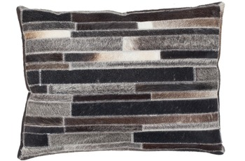 Kayoom Lederkissen Lavish Pillow 110 Grau-Braun