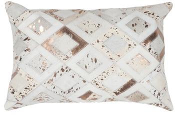 Kayoom Lederkissen Spark Pillow 110 Elfenbein /  Chrom