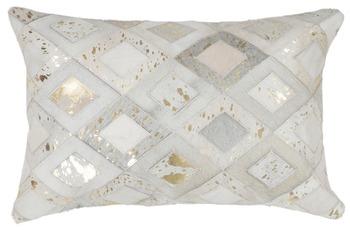 Kayoom Lederkissen Spark Pillow 110 Elfenbein /  Gold