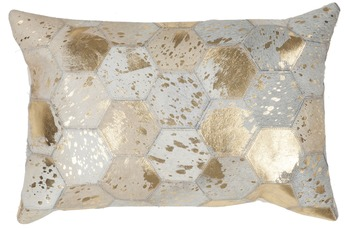 Kayoom Lederkissen Spark Pillow 210 Elfenbein /  Gold