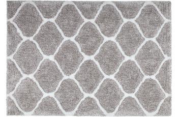 Kayoom Hochflor-Teppich Eger Silber /  Weiß