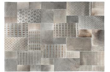 Kayoom Leder-Teppich Gleam 560 Grau /  Silber