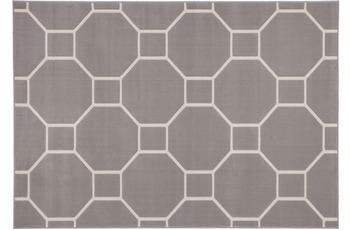 Kayoom Patchwork-Teppich Lina 100 Taupe /  Elfenbein