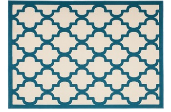 Kayoom Teppich Manolya 3097 Elfenbein-Türkis