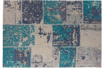 Kayoom Patchwork-Teppich Matrix 210 Türkis 240cm x 300cm