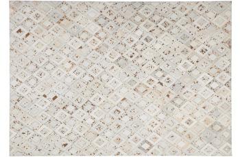 Kayoom Leder-Teppich Spark 110 Elfenbein /  Chrom
