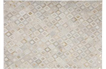 Kayoom Leder-Teppich Spark 110 Elfenbein /  Gold