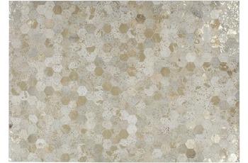 Kayoom Leder-Teppich Spark 210 Elfenbein /  Gold