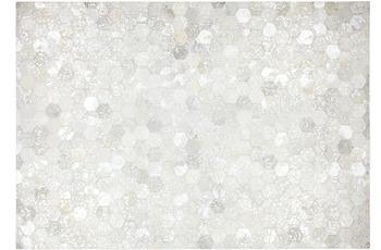Kayoom Leder-Teppich Spark 210 Grau /  Silber