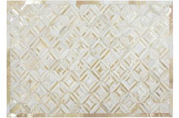 Kayoom Leder-Teppich Spark 410 Elfenbein /  Gold