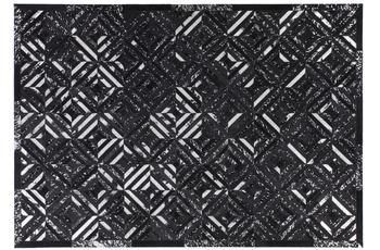 Kayoom Leder-Teppich Spark 410 Schwarz /  Silber
