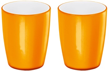 Kleine Wolke Accessoires Zahnputzbecher Joker, Orange 8,2 x 10 cm, 2er Pack