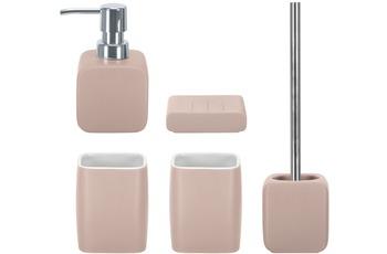 Kleine Wolke Badaccessoires Set Cubic pastellrose (bestehend aus Seifenspender, Seifenschale, WC-Garnitur, 2x Zahnputzbecher)