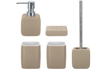 Kleine Wolke Badaccessoires Set Cubic taupe (bestehend aus Seifenspender, Seifenschale, WC-Garnitur, 2x Zahnputzbecher)