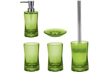 Kleine Wolke Badaccessoires Set Fortune Maigrün (bestehend aus Seifenspender, Seifenschale, WC-Garnitur, 2x Zahnputzbecher)