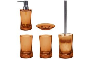 Kleine Wolke Badaccessoires Set Fortune Orange (bestehend aus Seifenspender, Seifenschale, WC-Garnitur, 2x Zahnputzbecher)