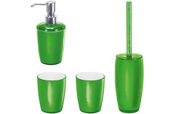 Kleine Wolke Badaccessoires Set Joker Kiwigrün (bestehend aus Seifenspender, WC-Garnitur, 2x Zahnputzbecher)