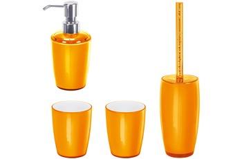 Kleine Wolke Badaccessoires Set Joker Orange (bestehend aus Seifenspender, WC-Garnitur, 2x Zahnputzbecher)