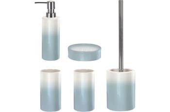 Kleine Wolke Badaccessoires Set Phönix Iceblue (bestehend aus Seifenspender, Seifenschale, WC-Garnitur, 2x Zahnputzbecher)