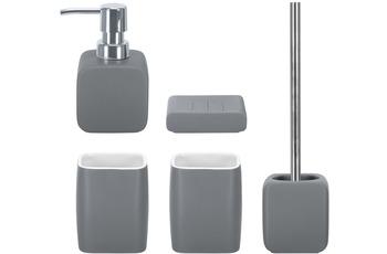 Kleine Wolke Badaccessoires Set Cubic anthrazit (bestehend aus Seifenspender, Seifenschale, WC-Garnitur, 2x Zahnputzbecher)