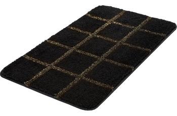 Kleine Wolke Badteppich Grid, Schwarz-Gold