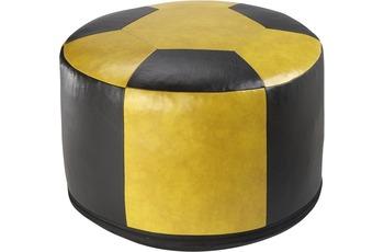 linke licardo Fussball-Sitzkissen, Kunstleder gelb/ schwarz Ø 50/ 34 cm