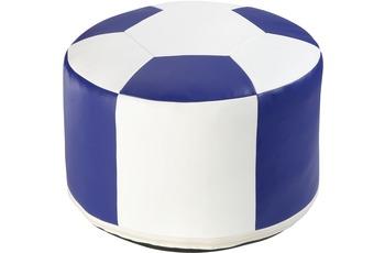 linke licardo Fussball-Sitzkissen, Kunstleder weiss/ blau Ø 50/ 34 cm