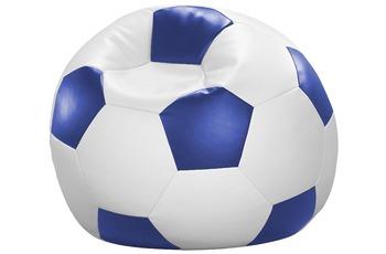 linke licardo Fußball-Sitzsack Kunstleder weiß/ blau