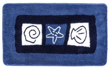 Meusch Badteppich Sylt Marineblau 55 cm x 50 cm WC-Vorleger mit Ausschnitt