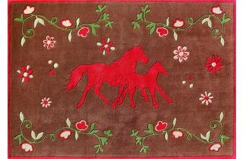 Pferdefreunde Pferde Teppich braun quer 150 x 220 cm