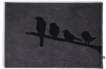 RHOMTUFT Badteppich BIRDS zinn/ schwarz 70 x 150 cm