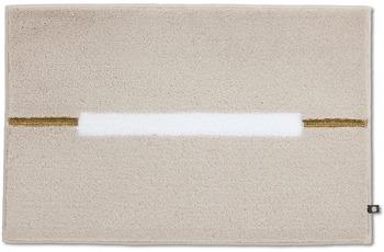 RHOMTUFT Badteppich CABLE stone/ weiß/ goldlurex 70 x 150 cm