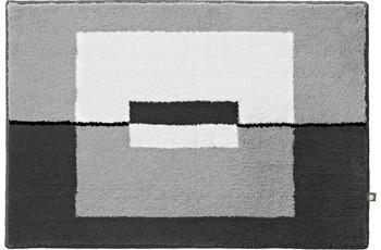 RHOMTUFT Badteppich CUBE edelstahl/ zink/ weiss/ schwarz 50 cm x 65 cm