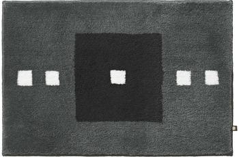 RHOMTUFT Badteppich CUBUS zink/ kaviar/ ecru 90 cm x 90 cm
