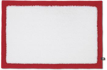 RHOMTUFT Badteppich FRAME weiß/ carmin 70 x 150 cm