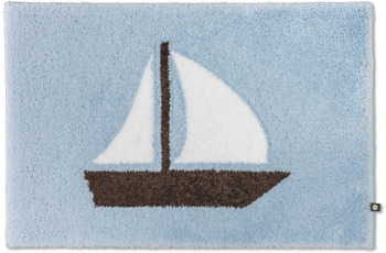 RHOMTUFT Badteppich SEGELBOOT air/ kastanie/ weiß 50 x 65 cm