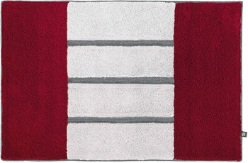 Rhomtuft Badteppich STEP cardinal/ silbergrau/ kiesel 50 cm x 65 cm