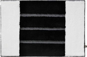RHOMTUFT Badteppich STEP weiss/ schwarz/ blei 80 cm x 160 cm