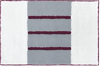 Rhomtuft Badteppich STEP weiss/ stahl/ bordeaux 50 cm x 65 cm