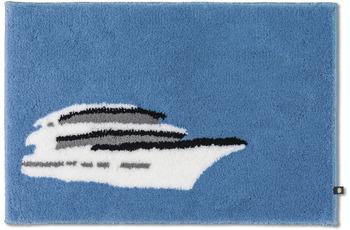 RHOMTUFT Badteppich YACHT himmel/ weiß/ edelstahl/ schwarz 50 x 65 cm