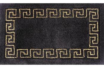 RHOMTUFT Badteppich MÄANDER schwarz/ goldlurex 65 cm x 110 cm