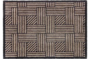 Schöner Wohnen Fußmatte Manhattan Design 004, Farbe 006 Streifengitter beige/ anthrazit