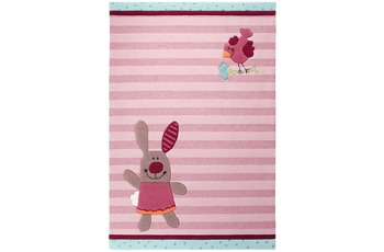Sigikid Kinder Teppich, 3 Happy Friends, Stripes SK-3349-01 rosa/ pink
